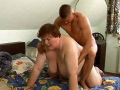 Big fat gramma fucking with hard young cock