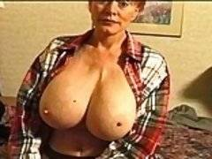 Fucking a big tittied old slut