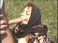 Wild fuck for an old babe outdoors