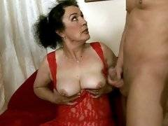 Old granny enjoys a young dick in her hairy pussy