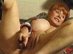 Hot old redhead toying and fucking