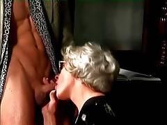 Slutty Granny Mrs Jones Slurps Young Hard Dick 1