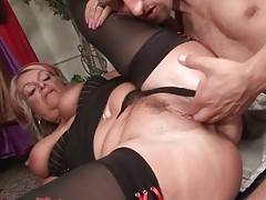Aged Blonde Sucks Dick And Gets Fucked 3
